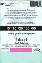 Lifeline Wireless Phone Reload Card - Back