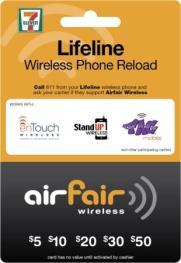 Lifeline Wireless Phone Reload Card - Front