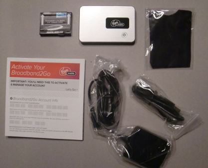Virgin Broadband2Go MiFi Package Contents