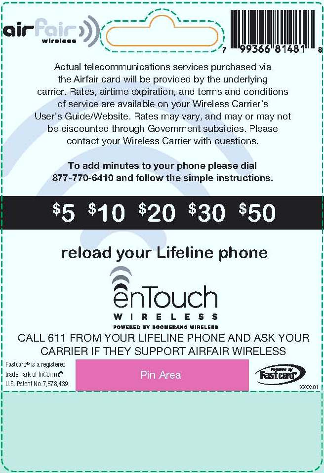 Lifeline Wireless Phone Reload Card - Back