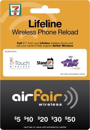 Lifeline Wireless Phone Reload Card - Front