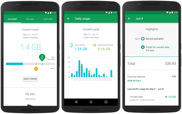 Project Fi Android Screenshots