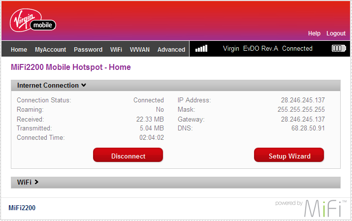 Virgin Broadband Admin Screen
