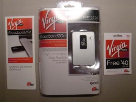 Virgin Broadband2Go MiFi Retail Packaging